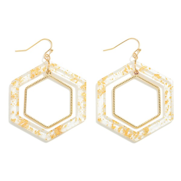 """Resin and Gold Tone Hexagonal Drop Earring  - Approximately 2.25"""""""