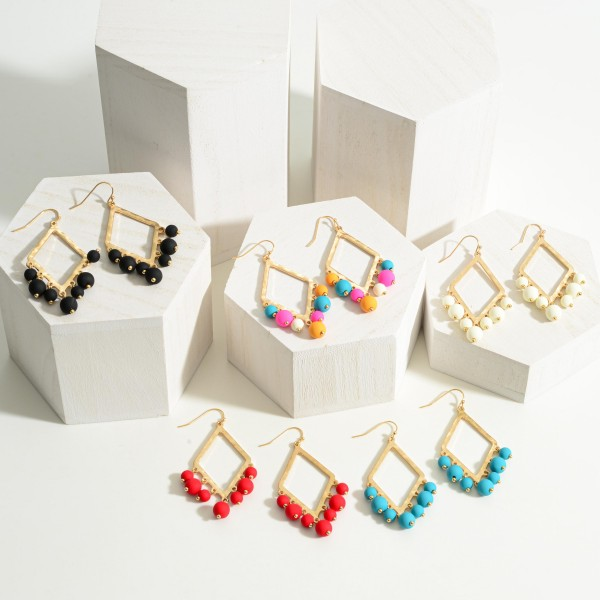 """Geometric Drop Earrings With Beads.   - Approximately 3"""" Long"""