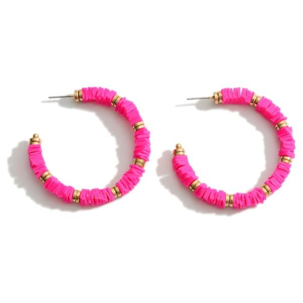 """Heishi Beaded Hoop Earrings.   - Approximately 2.5"""" in Length"""