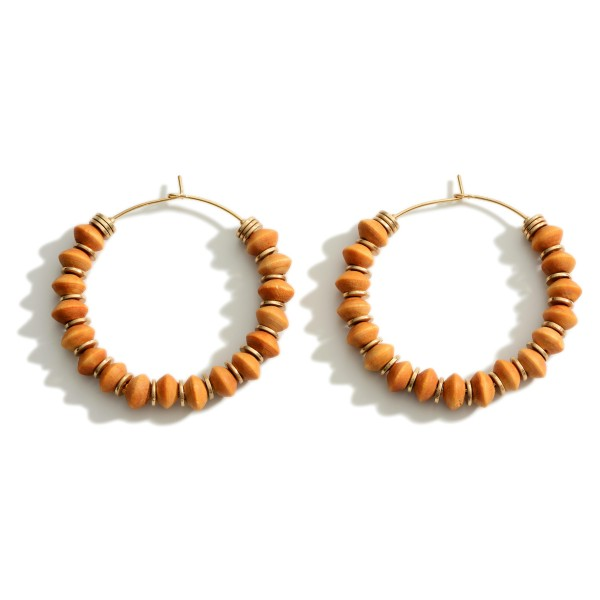 """Beaded Hoop Earrings With Gold Accents.  - Approximately 2"""" in Diameter"""