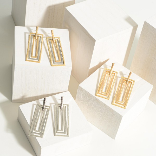 """Metal Layered Drop Earrings.   - Approximately 3"""" in Length"""