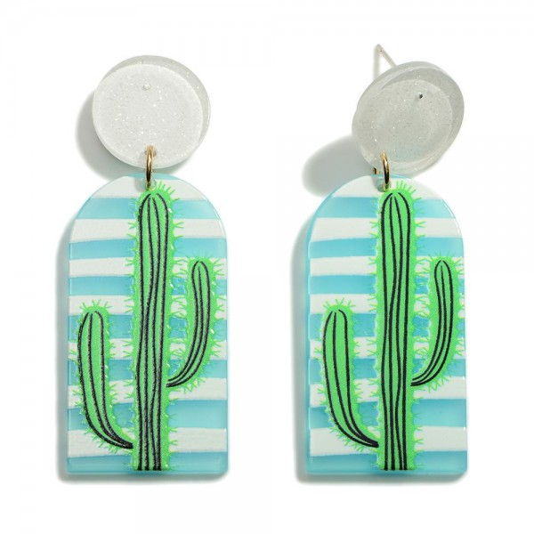 """Sparkly Post Drop Earring With Cactus Design  - Approximately 2.25"""" Length"""