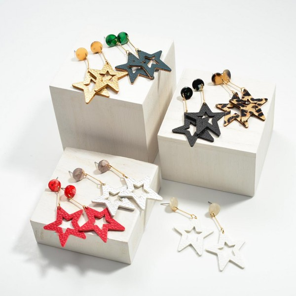 """Resin Post Drop Leather Star Earring  - Approximately 2.5"""" Length"""