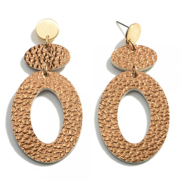 """Metallic Leather Oval Post Drop Earrings  - Approximately 2.5"""" Length"""