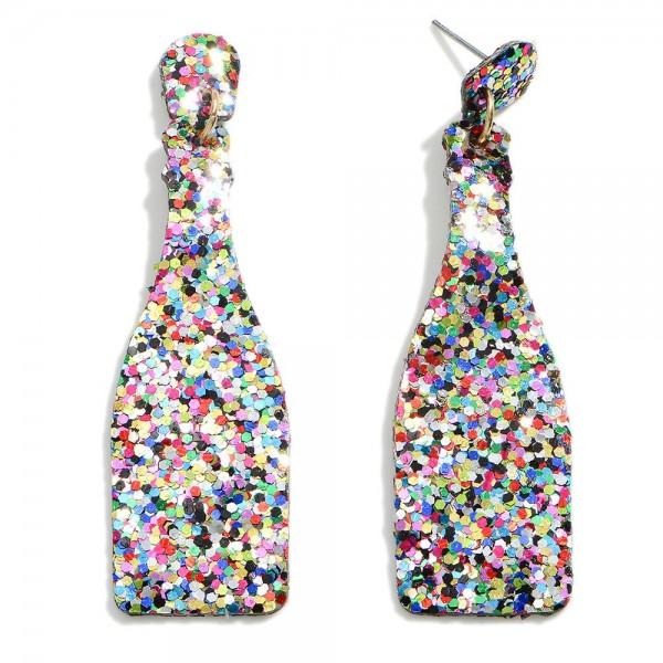"""Glitter Wine Bottle Earring  - Approximately 2.5"""" Length"""