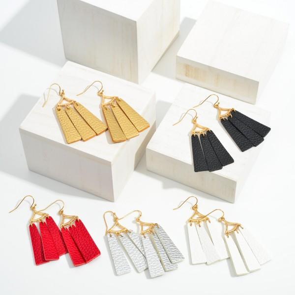 """Faux Leather Tassel Gold Tone Drop Earrings  - Approximately 2.5"""" Long"""