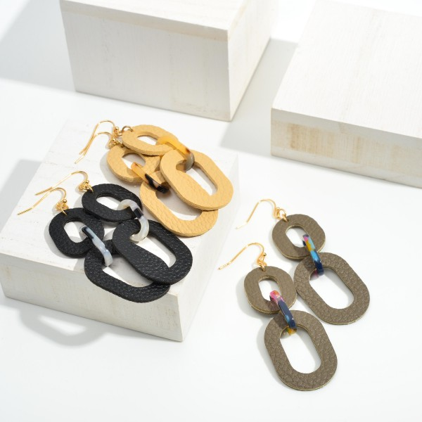 """Faux Leather Chain Link Drop Earrings Featuring Tortoise Accents  - Approximately 3"""" Long"""