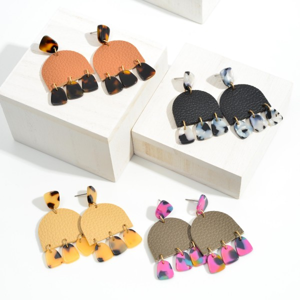 """Leather Drop Earrings With Acetate Charms  - Approximately 2"""" Length"""