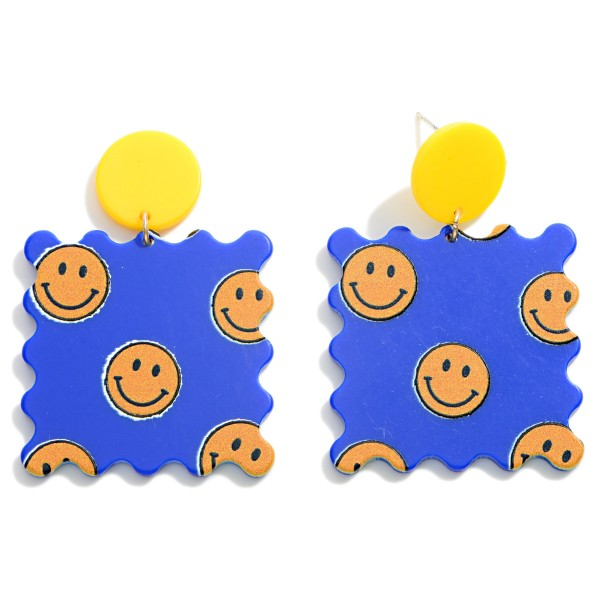 """Smiley Face Postage Stamp Drop Earrings  - Approximately 2"""" Long"""