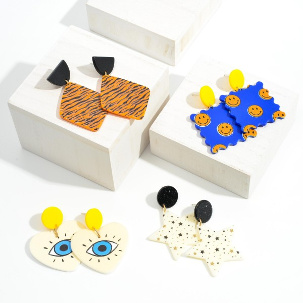 "Illustrated Eyes Heart Drop Earrings  - Approximately 2"" Long"