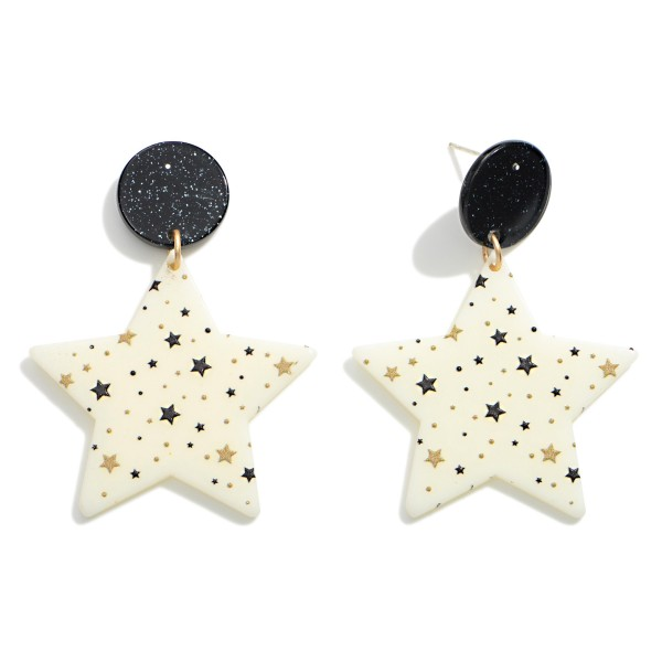 "Star Print Star Drop Earrings  - Approximately 2"" Long"
