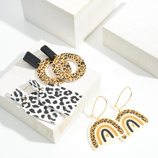"""Leopard Print Rainbow Drop Earrings  - Approximately 2.25"""" Long"""