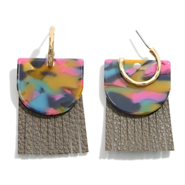 """Leather and Resin Hoop Drop Earring  - Approximately 2"""" Length"""