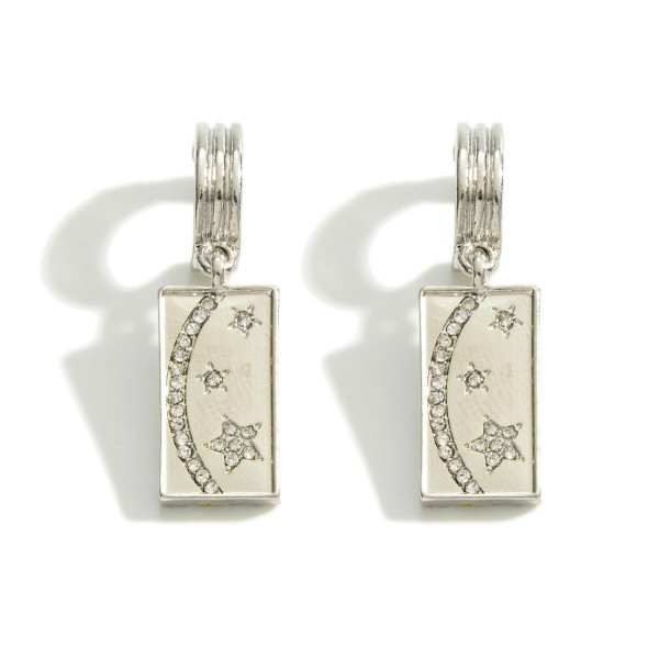 """Huggie Hoop Earring Featuring Rhinestone Crescent Moon and Star Charm  - Approximately 1.5"""" Length"""