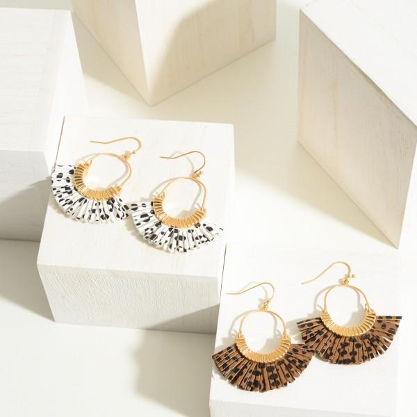 "Gold Tone Animal Print Fan Earrings  - Approximately 2"" Length"