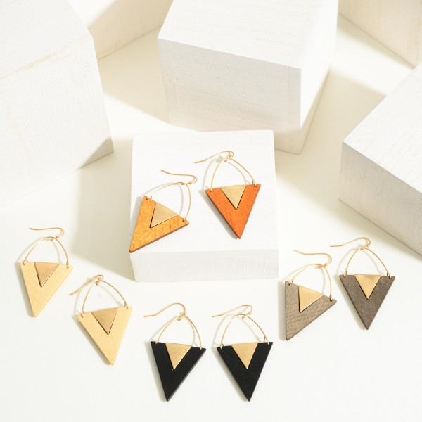 """Gold Toned Wooden Arrow Earrings  -Approximately2"""" Length"""