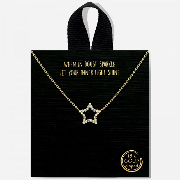 """Chain Link Rhinestone Star Necklace.    - Approximately 16"""" In Length"""