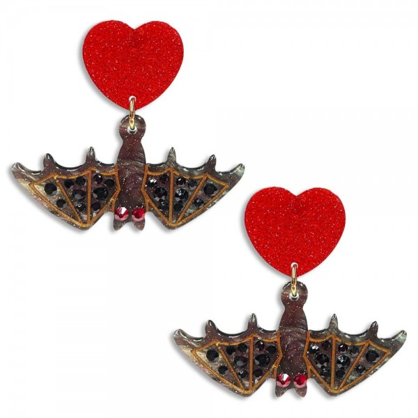 """Grey Resin Hanging Bats Drop Earrings With Red Crystal Eyes And Featuring Red Glittered Heart Studs  -Approximately 1.5"""" Long"""