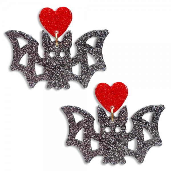 """Glittered Resin Bat Earrings Featuring Heart Accent  - Approximately 1.5"""" Long"""