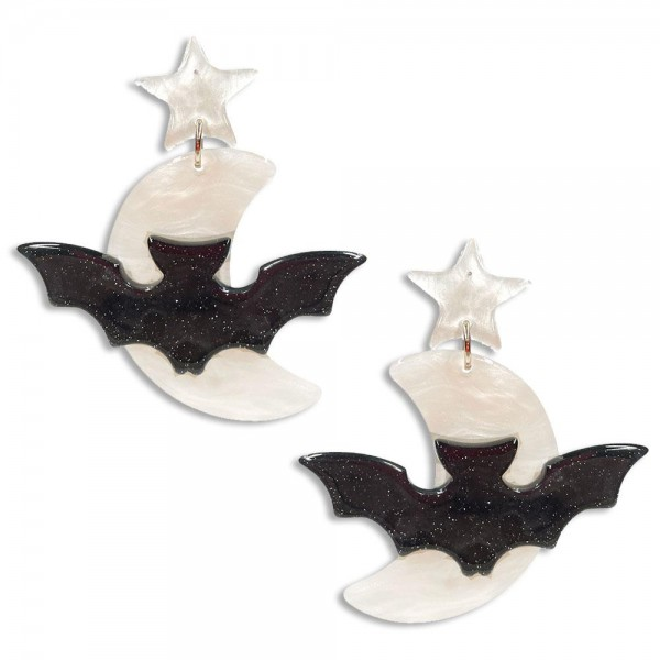 """Glittered Resin Bat and Moon Drop Earrings Featuring White Resin Star Studs  -Approximately 2.75"""" Long"""