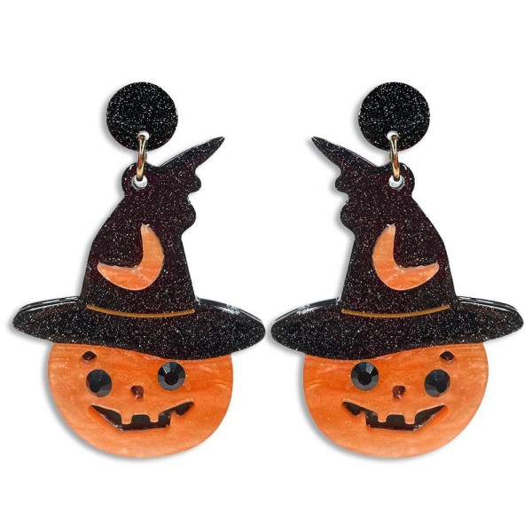 """Glittered Resin Jack-o-Lantern Wearing Witches Hat With Moon Drop Earrings Featuring Black Glittered Resin Studs  -Approximately 2.75"""" Long"""