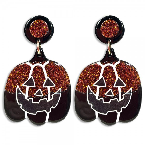 """Half Orange Glittered and Black Resin Jack-o-Lantern Drop Earrings Featuring Black And Orange Glittered Resin Studs  -Approximately 2.5"""" Long"""