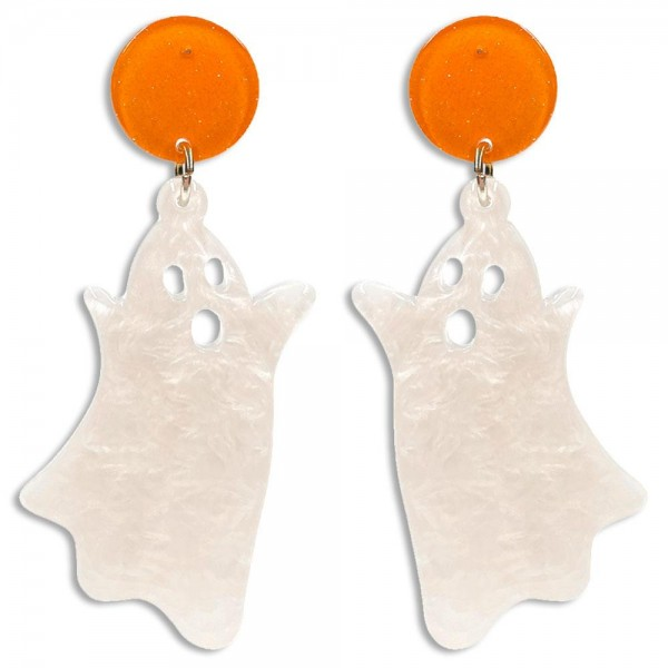 """White Resin Flying Ghost Drop Earrings Featuring Orange Glittered Resin Studs  -Approximately 2.5"""" Long"""