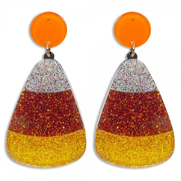 """Glittered Resin Candy Corn Drop Earrings Featuring Glittered Orange Studs  -Approximately 2.5"""" Long"""