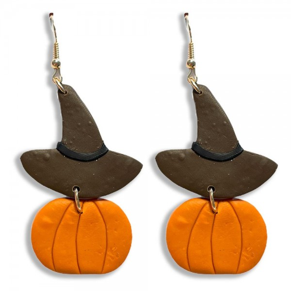 """Pumpkin and Witches Hat Polymer Clay Earrings  - Approximately 3"""" Long"""