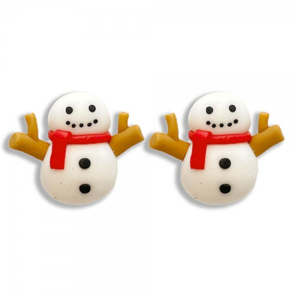 """Snowman Polymer Clay Stud Earrings  - Approximately .5"""" Long"""