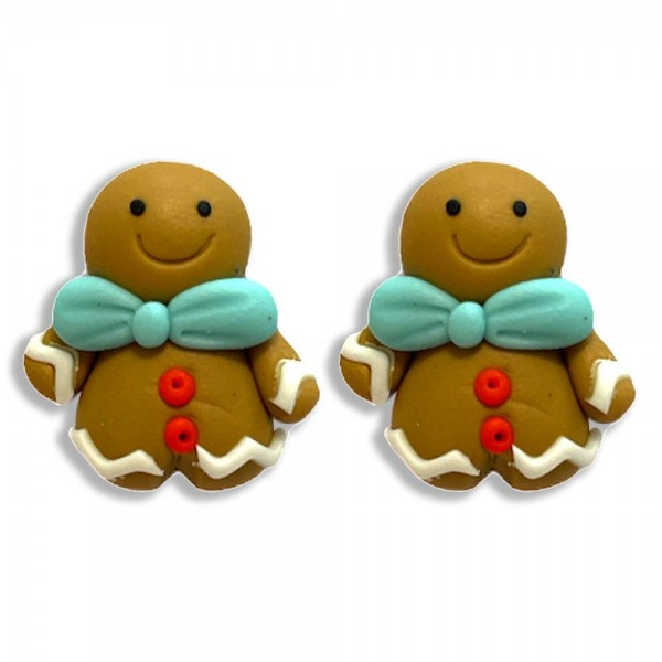 """Gingerbread Man Polymer Clay Stud Earrings  - Approximately .75"""" Long"""