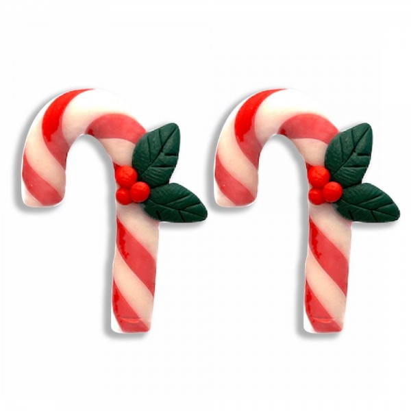 """Candy Cane Polymer Clay Stud Earrings Featuring Holly Accents  - Approximately 1"""" Long"""