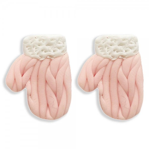 Winter Mittens Polymer Clay Stud Earring  - Approximately 10mm Width