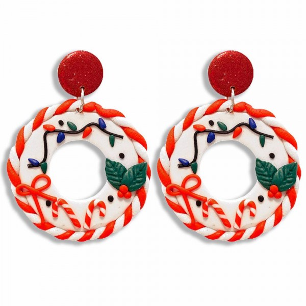 """Candy Cane Striped Wreath Polymer Clay Earrings Featuring Christmas Lights and Holly Accents  - Approximately 2"""" Long"""