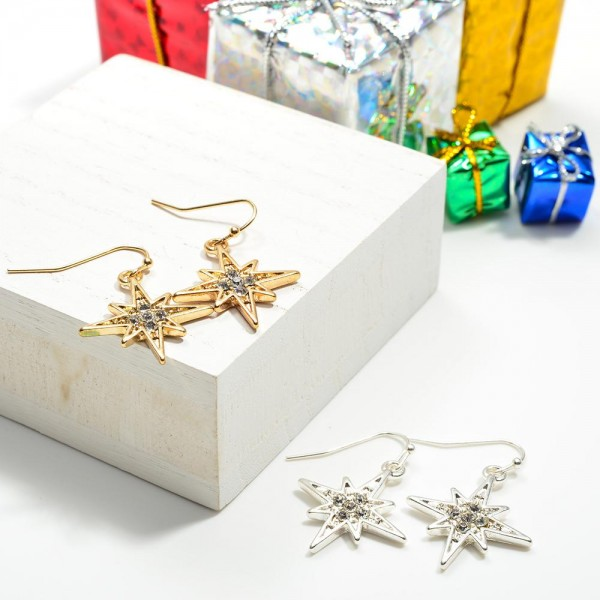 """North Star Earrings with Crystal Accents  - Approximately 1"""" Length"""