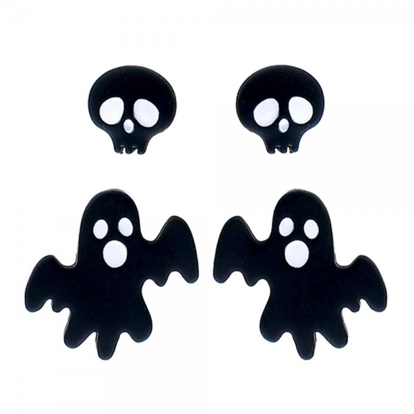 Halloween Ghost and Skull Earring Set  - Set of 2
