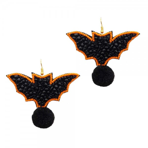 "Bats Seed Beaded Halloween Felt Drop Earrings Featuring Black Pom Accent  -Approximately 2"" Long"