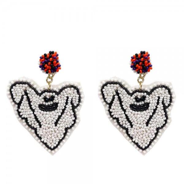 """Ghost Seed Beaded Halloween Felt Drop Earrings  -Approximately 2.5"""" Long"""