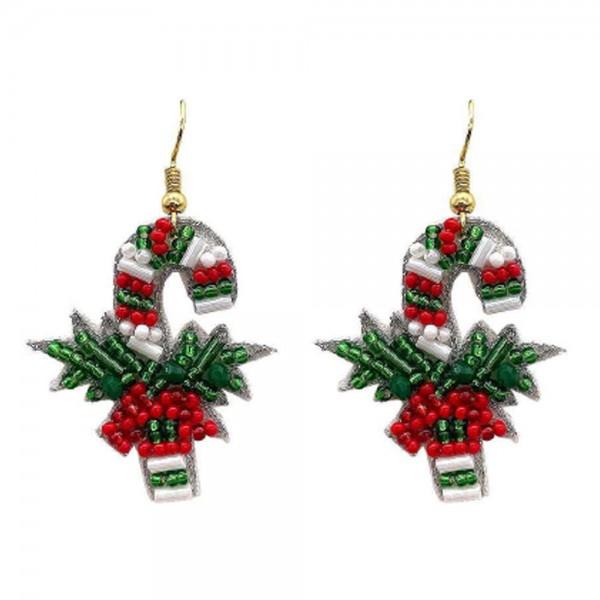 "Candy Cane Seed Beaded Christmas Felt Drop Earrings  -Approximately 1.5"" Long"