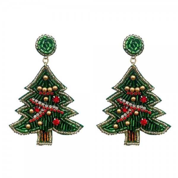 """Christmas Tree Seed Beaded Christmas Felt Drop Earrings Featuring Green Seed Beaded Stud   -Approximately 3.25"""" Long"""