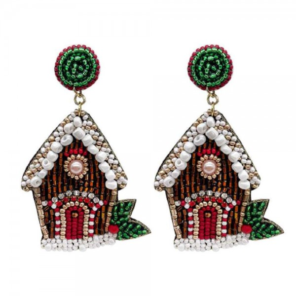 "Gingerbread House Seed Beaded Christmas Felt Drop Earrings  -Approximately 3"" Long"