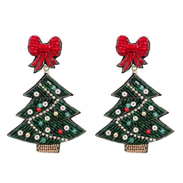 """Christmas Tree with Bow Topper Seed Beaded Christmas Felt Drop Earrings  -Approximately 3"""" Long"""