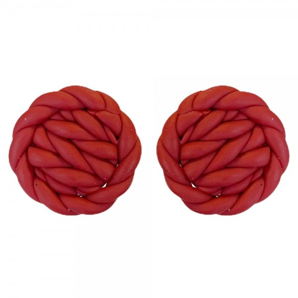 """Basket Weave Stud Polymer Clay Earring  - Approximately .75"""" Width"""