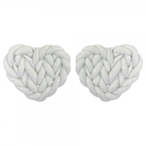 """Heart Shaped Basket Weave Polymer Clay Earring  - Approximately .75"""" Width"""