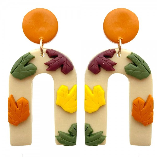 """Polymer Clay Earrings Featuring Falling Leaves Detailing  - Approximately 2"""" Length"""