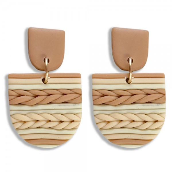 """Neutral Basket Weave Polymer Clay Drop Earring  - Approximately 1.5"""""""