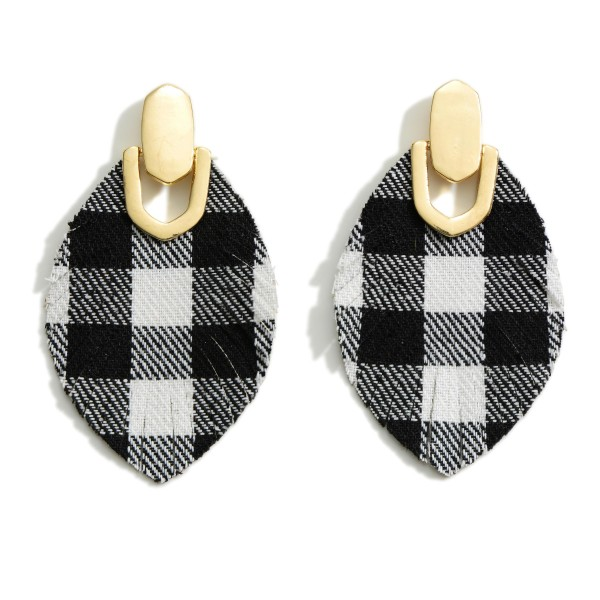 """Buffalo Check Pattern Drop Earrings Featuring Gold Tone Accent  - Approximately 2.5"""" Long"""