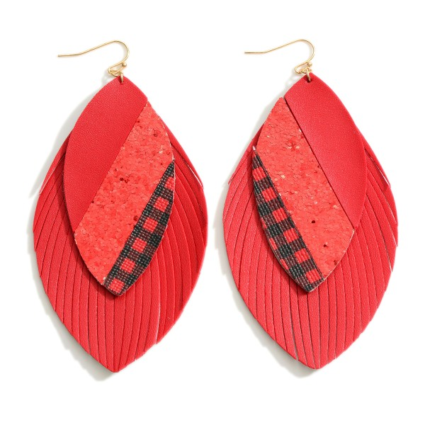 """Layered Feather Leather Drop Earrings Featuring Glitter and Buffalo Check Accents  - Approximately 4"""" Long"""
