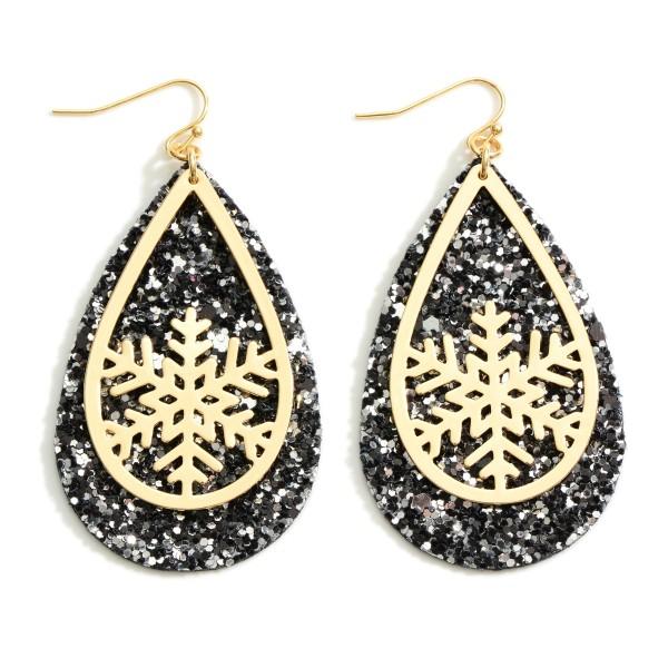"""Gold Tone Snowflake Glitter Teardrop Earrings  - Approximately 2.5"""" Long"""