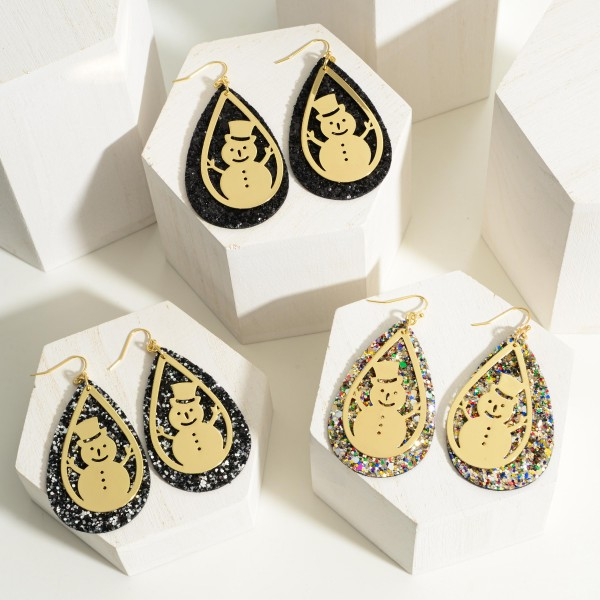 """Gold Tone Snowman Glitter Teardrop Earrings  - Approximately 2.5"""" Long"""